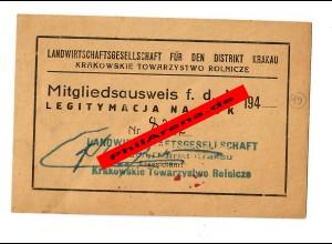 GG: Mitgliedsausweis Landwirtschaftsgesellschaft Distrikt Krakau/Tarnow 194x,