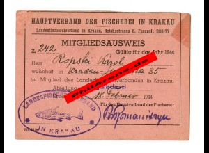GG: Mitgliedsausweis Hauptverband Fischerei Krakau, 1944