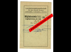 GG: Mitgliedsausweis 1943 Landwirtschaftsgesellschaft Krakau/Kobierzynie