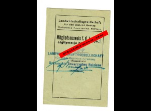 GG: Mitgliedsausweis 1943 Landwirtschaftsgesellschaft Krakau/Brzesko