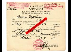 GG: Erlaubnis zum Fischfang mit der Angel, Krkaau 1942