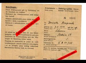 GG: Arbeitskarte für Polen: Befestigungsbau Venus bis 23.12.44, Redzin
