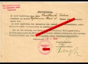 GG Bescheingung Tarnow Hauptzollamt: Ankauf von Lebensmittel und Heizmittel 1940