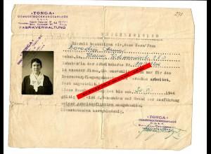 GG: Bescheinigung für Angestellte im Heeresverpflegungsamt Warchau 1944