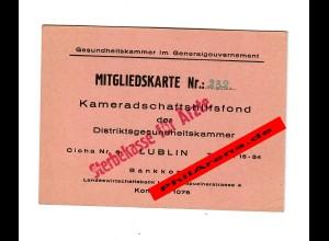 GG: Mitgliedskarte Gesundheitskammer Lublin, Kammeradschaftshilfsfond