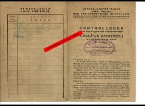 GG: Kontrollbuch über das Fegen von Schornsteinen in Sokolow/Warschau 1942/43