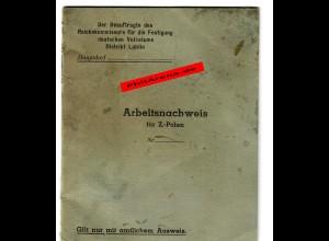 GG: Blanko Arbeitsnachweis für Z.-Polen, Lublin 1943