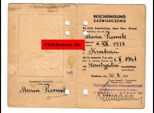 GG: Bescheinigung für Stenotypistin 1941: Deutsche Handels-AG, Krakau