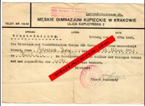 GG: Schulbescheinigung Kaufmännische Schule für Knaben, Krakau 1940, 1. Klasse