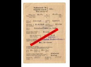 GG: Nachtausweis für Dienstanfänger: Ostbahn Krakau-Plaszow, Biezanow 1944