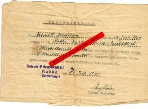 GG: Bescheinigung Entlassung aus Kriegslazarett wegen Auflösung: Rabka 1941