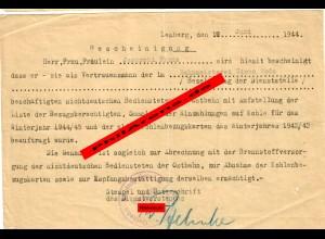 GG: Bescheinigung Vertrauensmann der nichtdeutschen Bediensteten der Ostbahn