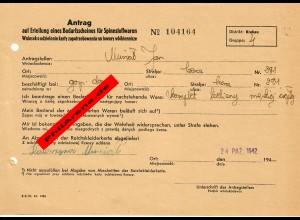 GG: Antrag auf Erteilung eines Bedarfscheines für Spinnstoffwaren, Krakau 1942