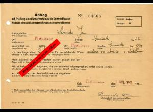 GG: Antrag auf Erteilung eines Bedarfscheines für Spinnstoffwaren, 1942, Krakau