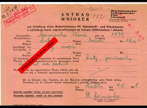 GG Antrag auf Erteilung eines Bedarfscheines für Spinnstoffwaren/Schuhwaren 1942