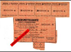 GG: Lebensmittelkarte Krakau für nichtdeutsche Kinder bis 14 Jahre, 12/1943