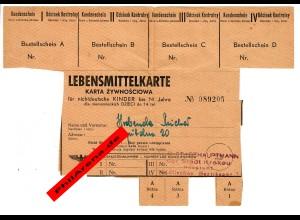 GG: Lebensmittelkarte für nichtdeutsche Kinder bis 14 Jahre, Hauptamt Krakau