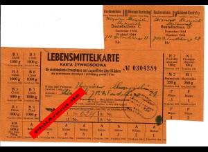 GG: Lebensmittelkarte für nichtdeutsche Kinder über 14 Jahre, Milanowek: 12/1944