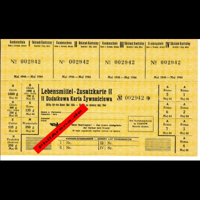 GG: Lebensmittel Zusatzkarte Mai 1944, Krakau