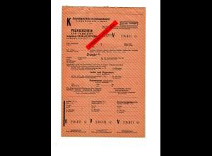 GG: Prämienschein für abgeliefertes Schlachtvieh: Ochsen/Bullen/Kühe/Schweine/..