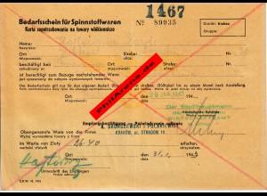 GG: Bedarfsschein für Spinnstoffwaren, Krakau 1943