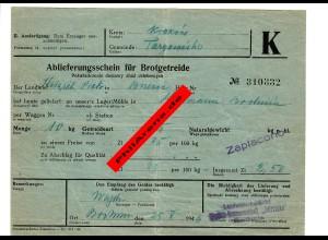 GG: Ablieferungsschein für Brotgetreide: Zaplacono/Bochnia 1940