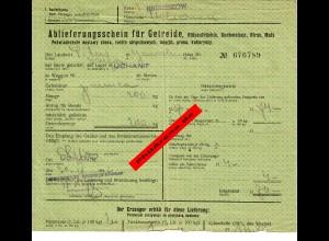 GG: Ablieferungsschein für Getreide/Hülsenfrüchte/Roggen, Mais, Hirse ... 1943