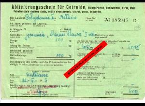 GG: Ablieferungsschein für Getreide/Hülsenfrüchte/Roggen, Mais, ...1944, Siedlce