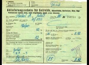 GG: Ablieferungsschein für Getreide/Hülsenfrüchte/Roggen, Mais, ...1943, Gorlice