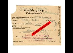 GG: Bestätigung Ablieferung von Kartoffeln Skierniewice 1943/44: Prämienpunkte