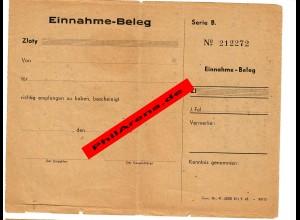 GG: Blanko Einnahme Beleg, Generalgouvernement 1943