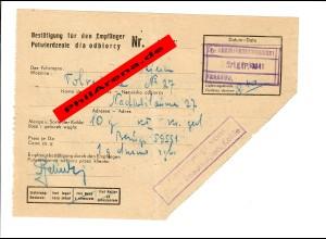 GG: Empfänger Bestätigung für Kohle vom Fuhrmann in Krakau 1941