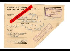 GG: Empfänger Bestätigung für 20 Kg Kohle vom Fuhrmann in Krakau 1941