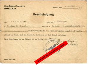 GG: Bescheiniung als Schutzwache in Bochnia 1943/44