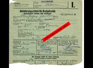 GG: Ablieferungsschein für Brotgetreide: Hrubieszow, Uchanie