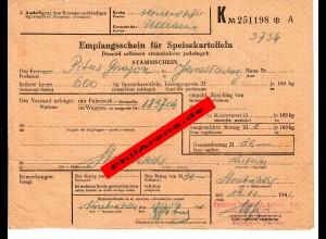 GG: Empfangsschein für 600 kg Kartoffeln, Hrubieszow, Uchanie, 1941