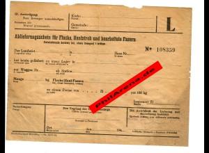 GG: Blanko Ablieferungsschein für Flachs, Hanfstroh und Fasern, 1940