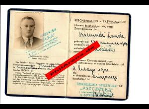 GG: Bescheingung/Ausweis Mitarbeiter Genossenschaft Szczodrkowice 1941