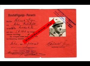 GG: Beschäftigungs-Ausweis Landwirtschaftliche Kreishandelsgenossenschaft 1943