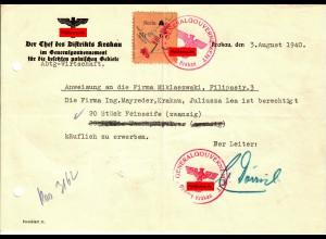 GG: Anweisung an Firma zum Erwerb von 20 Stk. Feinseife, Krakau 1940