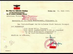 GG: Anweisung an Firma zum Erwerb von Seife, Krakau 1940