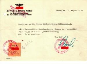 GG: Anweisung an Uni-Buchdruckerei zum Erwerb von Seife, Krakau 1940