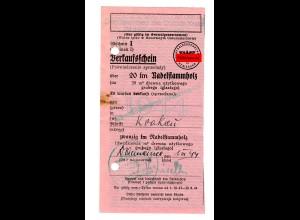 GG: Verkaufschein 20 fm nadelstammholz, Krakau, 1944