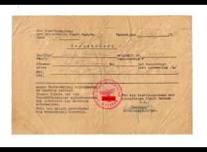 GG: Bezugschein 4m Seide für eine Schürze 12.1939, Tarnow