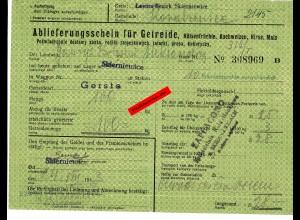 GG: Ablieferungsschein für Getreide/Hülsenfrüchte/Gerste, ... 1943, Skierniewice