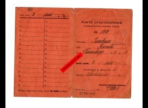 GG: Wohnungszuweisungskarte Kielce 1940
