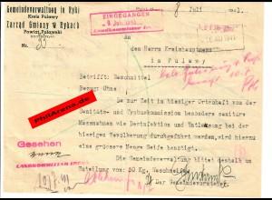 GG: Bitte der Gemeindverwaltung Ryki um 50kg Waschseife 1941 in Pulawy