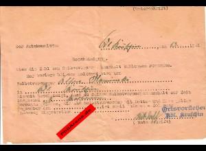Kruschin: 1941 Selbstversorgungshaushalt mit 3 Pesonen zur Vorlage bei Molkerei