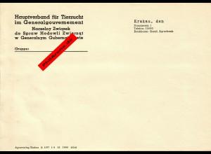 GG: Blanko Kurzschreiben Vorlage: Hauptverband für Tierzucht, Krakau 1943