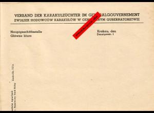 GG: Blanko Vorlage: Verband der Karakulzüchter, Krakau